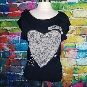 H&M Black Heart Map T-shirt Map of Love Tee